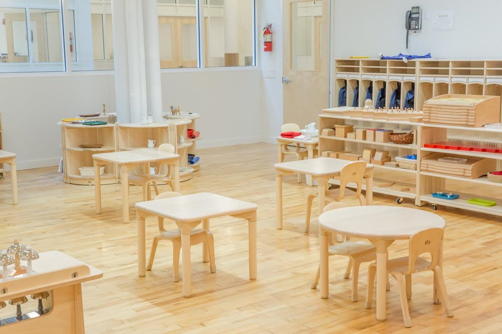 Neat classroom in the Montessori School Flatiron, New York. MEP designed by 2LS Consulting Engineering.