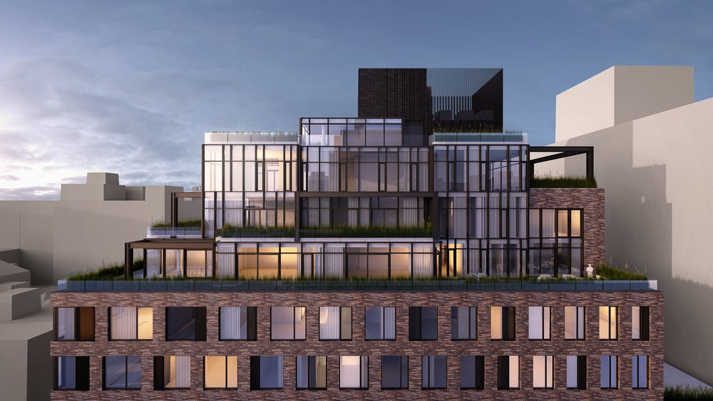 View of the top part of a propose building for 111 Leroy Street in the West Village mixing brick and glass. MEP designed by 2L Engineering.
