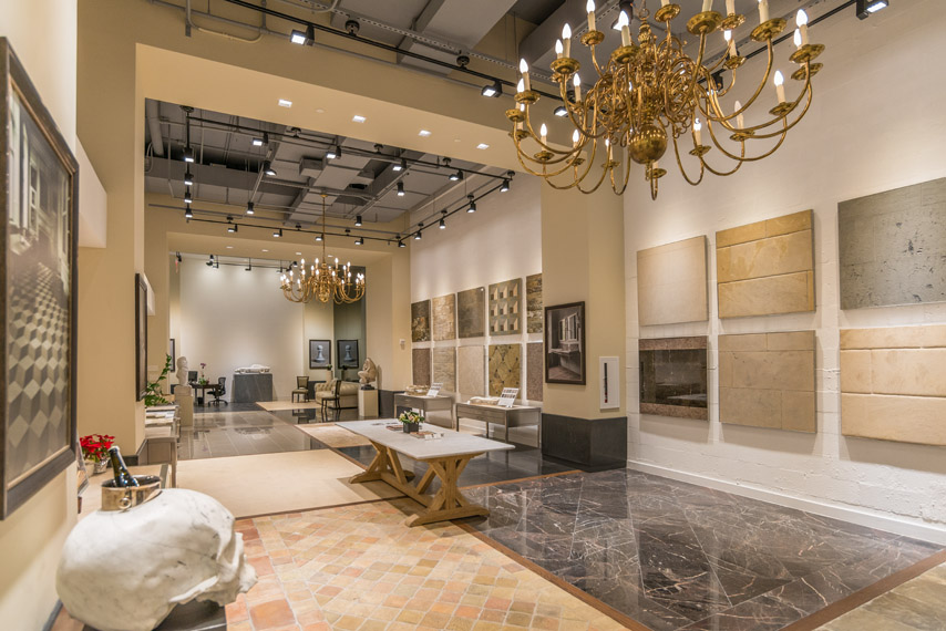 The Lapicida showroom in New York featuring mixed samples of natural stone and tile for customers to view. MEP provided by 2L Engineering.