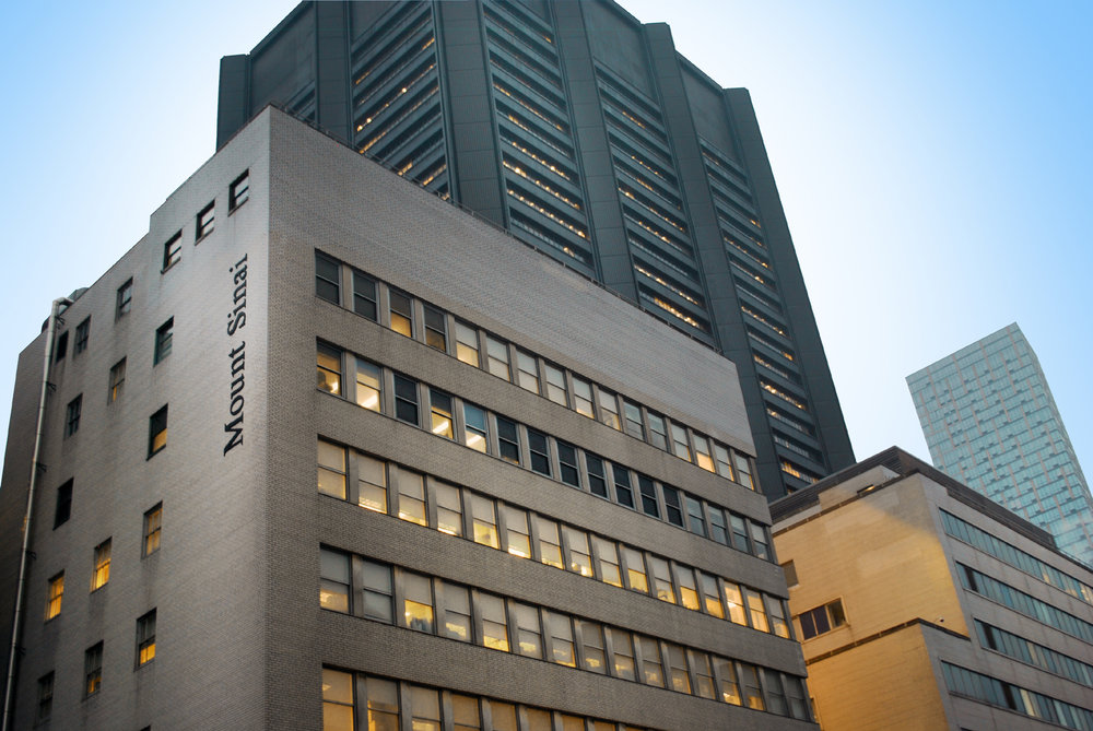 Rendering of the Mount Sinai Hospital on New York's Upper East Side at dusk. MEP for the Urology Office designed by 2LS Consulting Engineering.