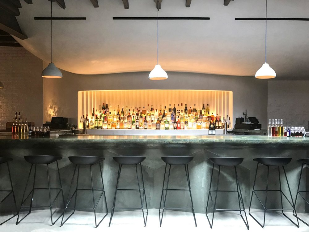The bar at Bar Beau, a bar/coffee shop in Brooklyn with MEP design services provided by 2L Engineering