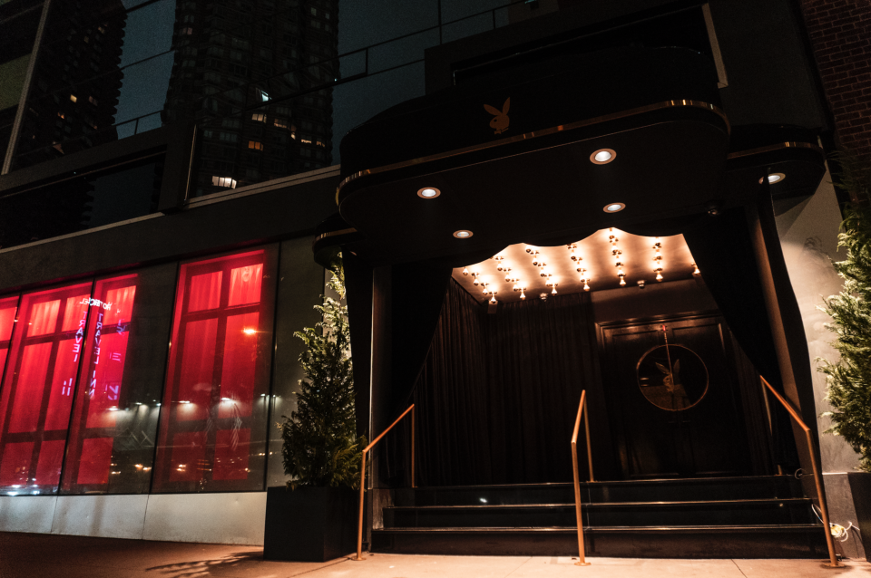 The entrance to the Playboy Club with the famous bunny logo sealed onto the front doors. MEP-FP services provided by 2LS Consulting Engineering.