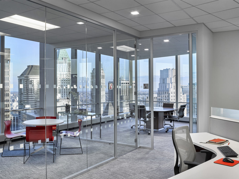 Private meeting rooms in the offices of Padilla CRT in downtown New York with MEP provided by 2L Engineering.