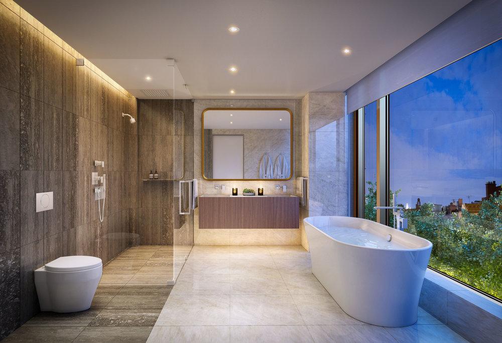 Luxury Bathroom at 75 Kenmare Nolita, MEP engineering services provided by 2LS