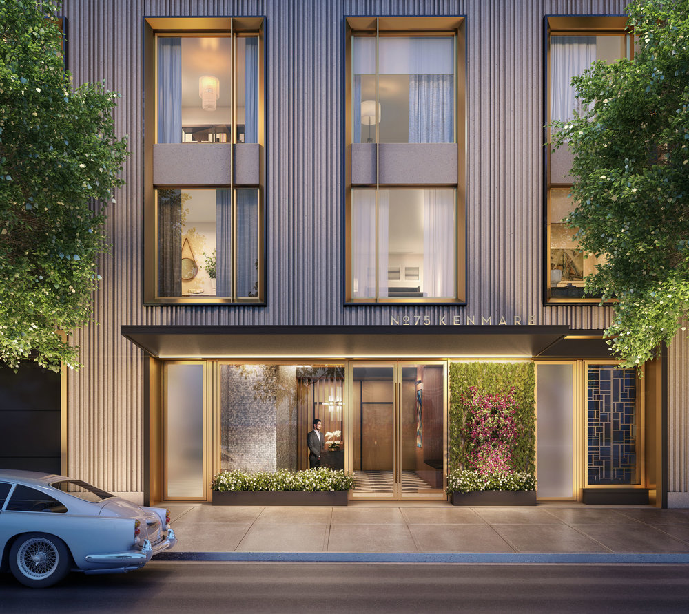Rendering of luxury residential building at 75 Kenmare Nolita with MEP engineering services provided by 2LS