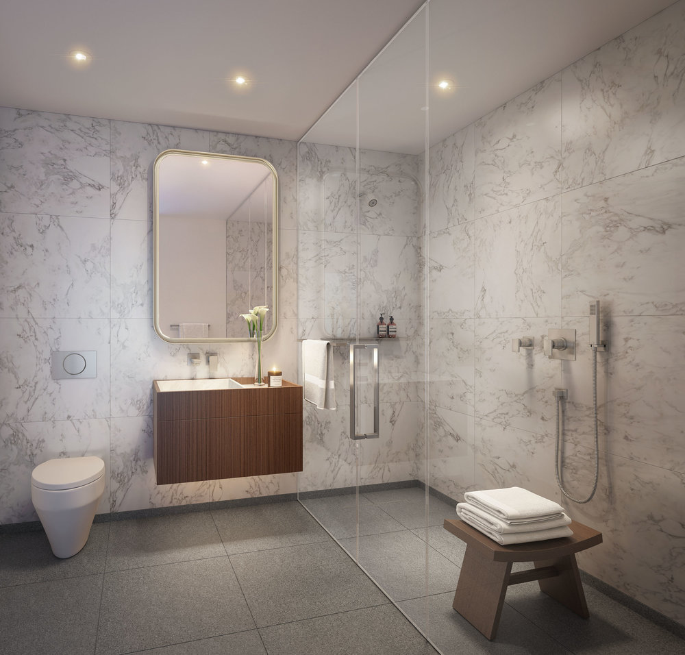 Luxury bathroom at 75 Kenmare Nolita with MEP engineering services provided by 2LS