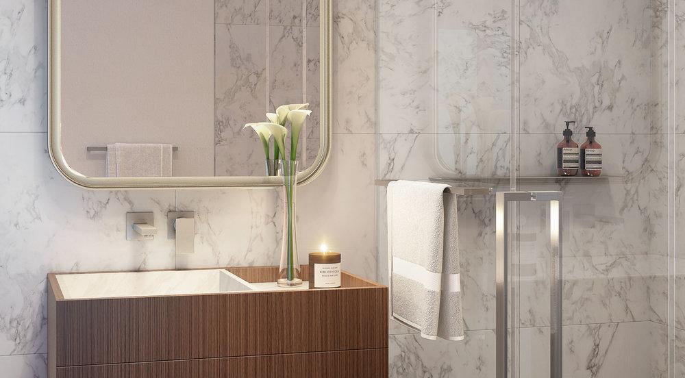 Luxury bathroom at 75 Kenmare Nolita, with MEP engineering provided by 2LS