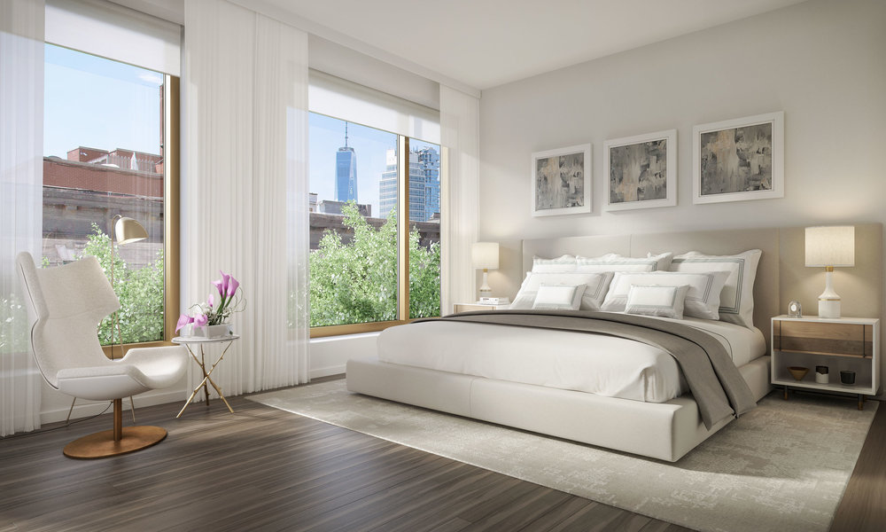 Luxury bedroom at 75 Kenmare, with MEP engineering services provided by 2LS