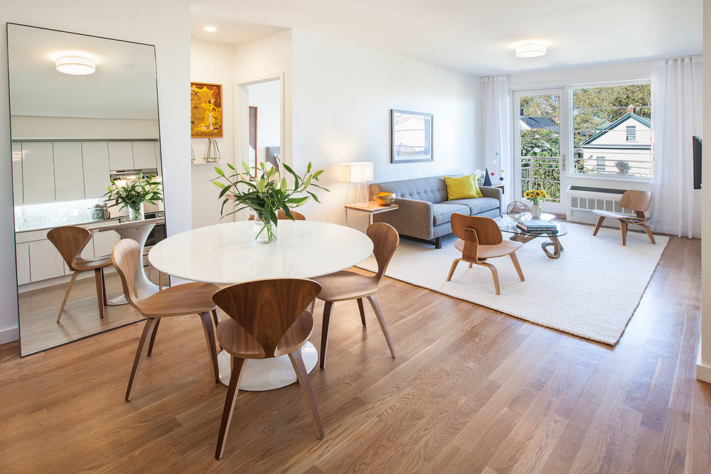 The interior of the sun-filled open layout apartment at The Lefferts House at 195 Hawthorne Street with MEP-FP engineering services provided by 2LS