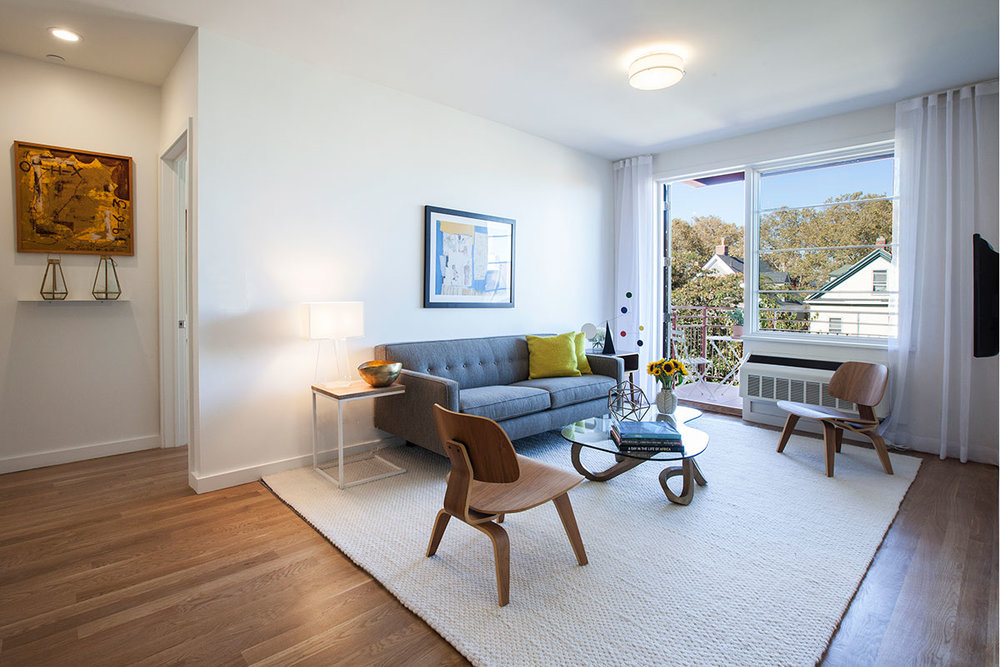 The interior design of the open layout apartment at The Lefferts House at 195 Hawthorne with MEP-FP engineering services provided by 2LS