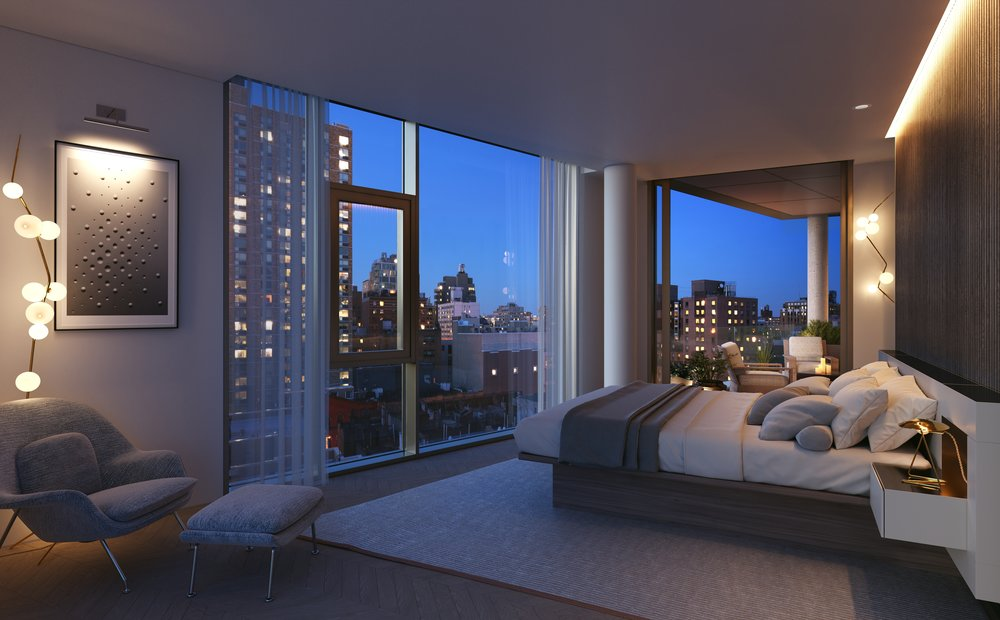 Rendering of master bedroom at 80 east 10th street with MEP-FP engineering services provided by 2LS