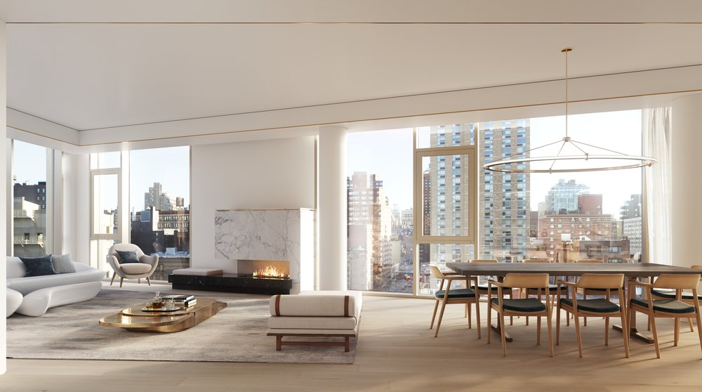 Rendering of living room at 80 east 10th street with MEP-FP engineering services provided by 2LS