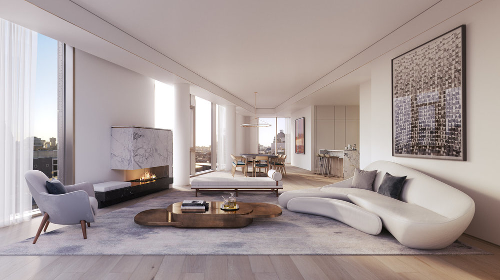 Rendering of the living room at 80 east 10th street with MEP-FP engineering services provided by 2LS