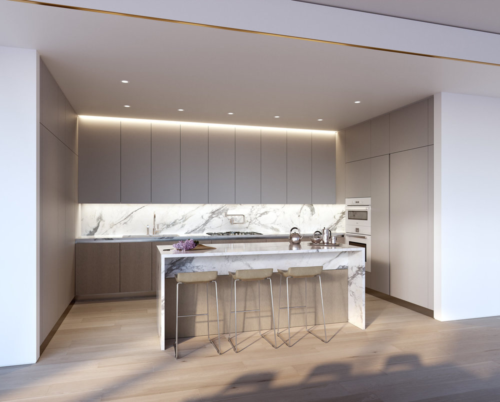Rendering of kitchen area at 80 east 10th street with MEP-FP engineering services provided by 2LS
