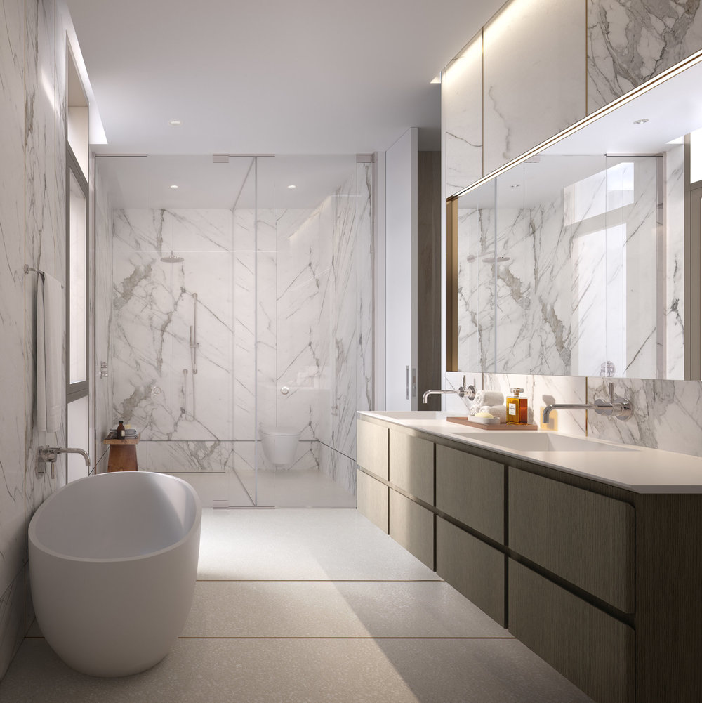 Rendering of bathroom at 80 east 10th street with MEP-FP engineering provided by 2LS
