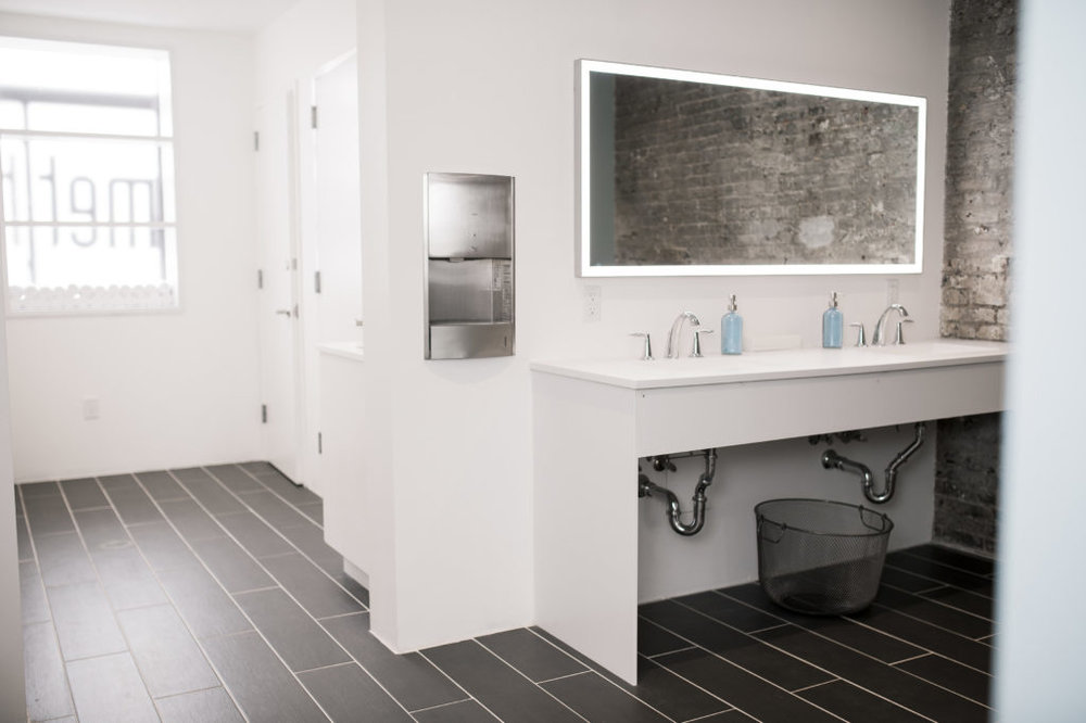 The bathroom at the Bar Method at Williamsburg with MEP engineering provided by 2LS
