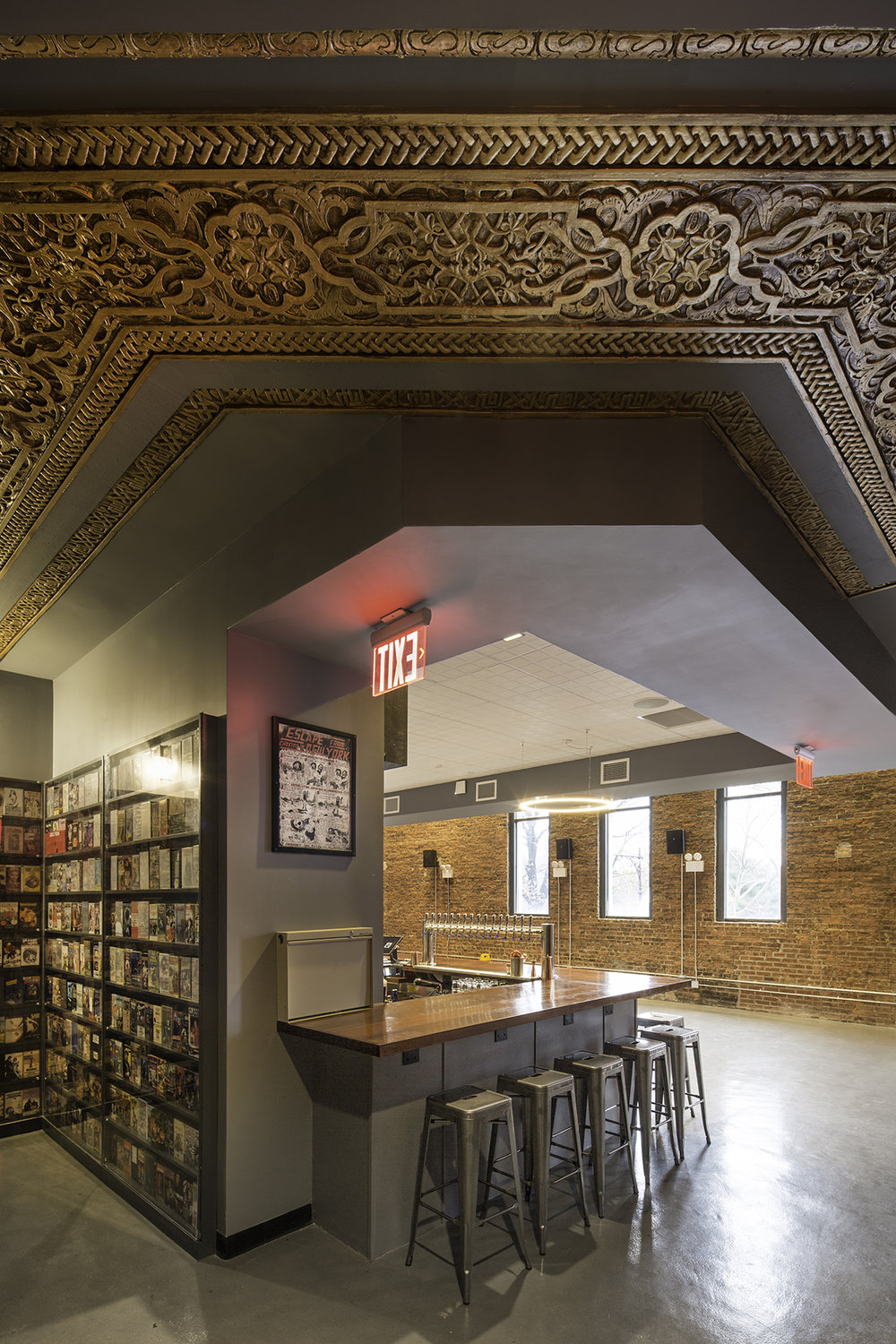 The bar and interior architecture of the Nitehawk Cinema at 188 Prospect Park West in Brooklyn with MEP-FP engineering services provided by 2LS.