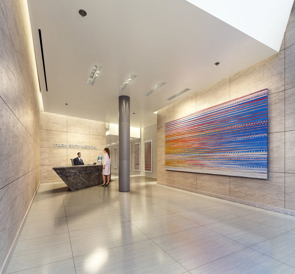 Rendering of the lobby of Park Sixty Medical located at 110 East 60th Street
