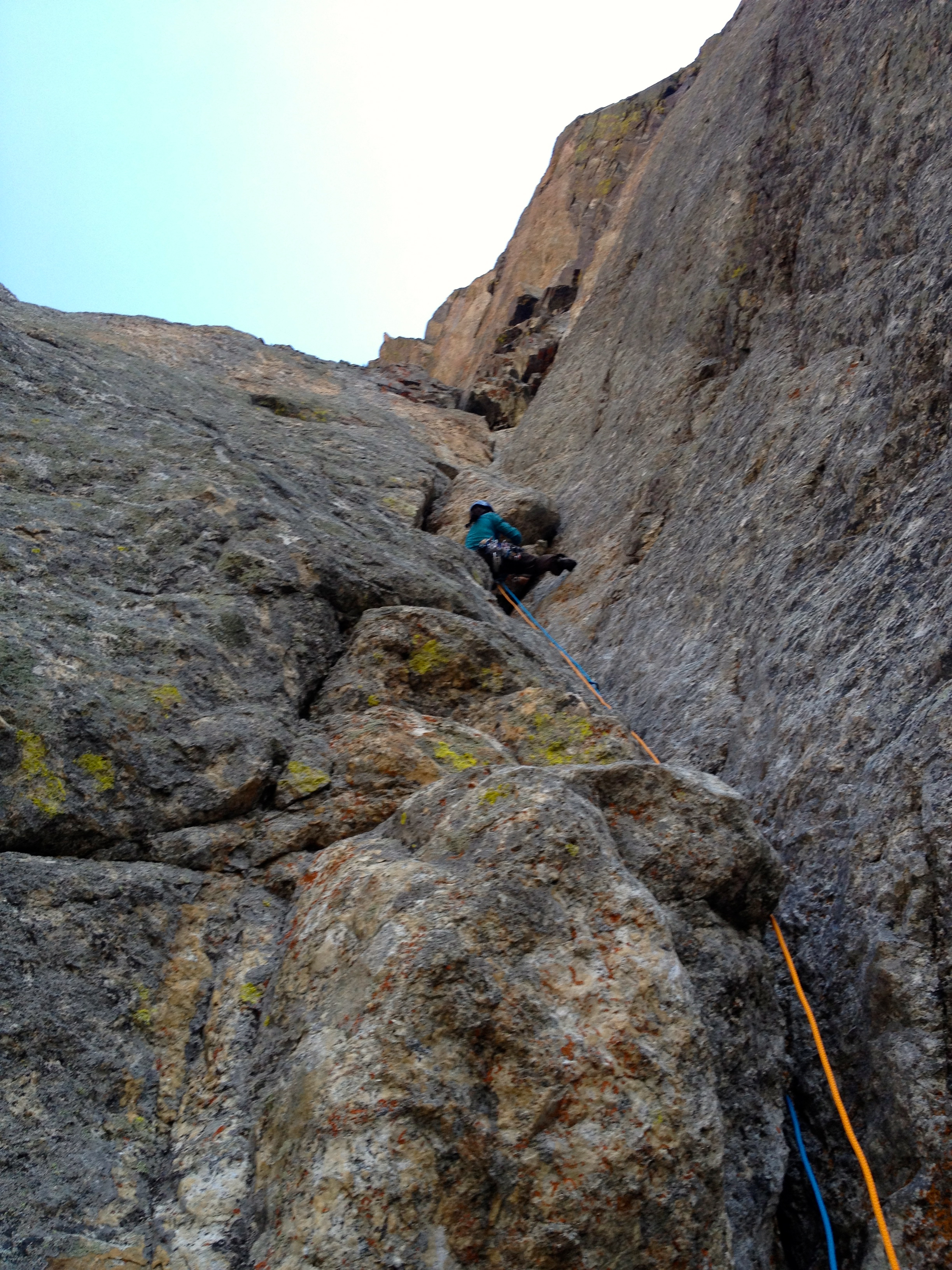 "Leslie leading the long adventurous classic Teton Climb ""The Snaz"""
