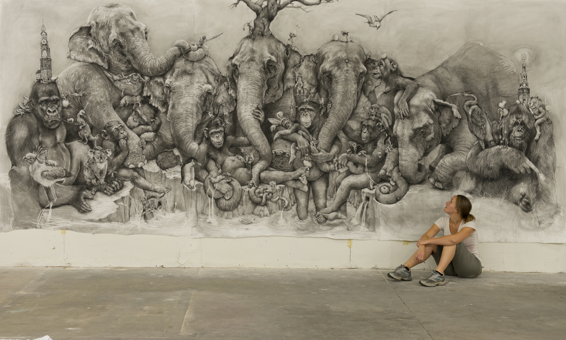 Artist Adonna Khare with her Art Prize winning work