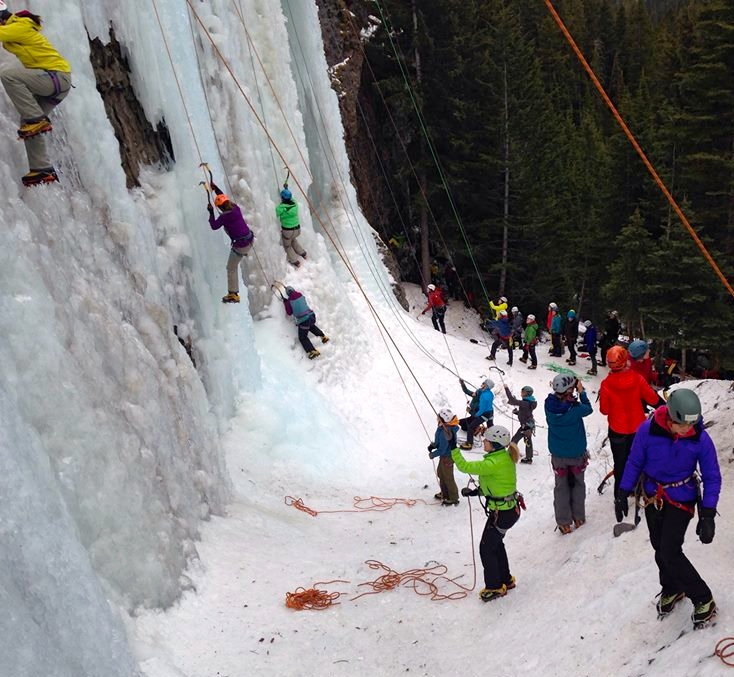 You can spot me in the bright lime green jacket belaying and teaching (photo credit: Felicia Ennis)