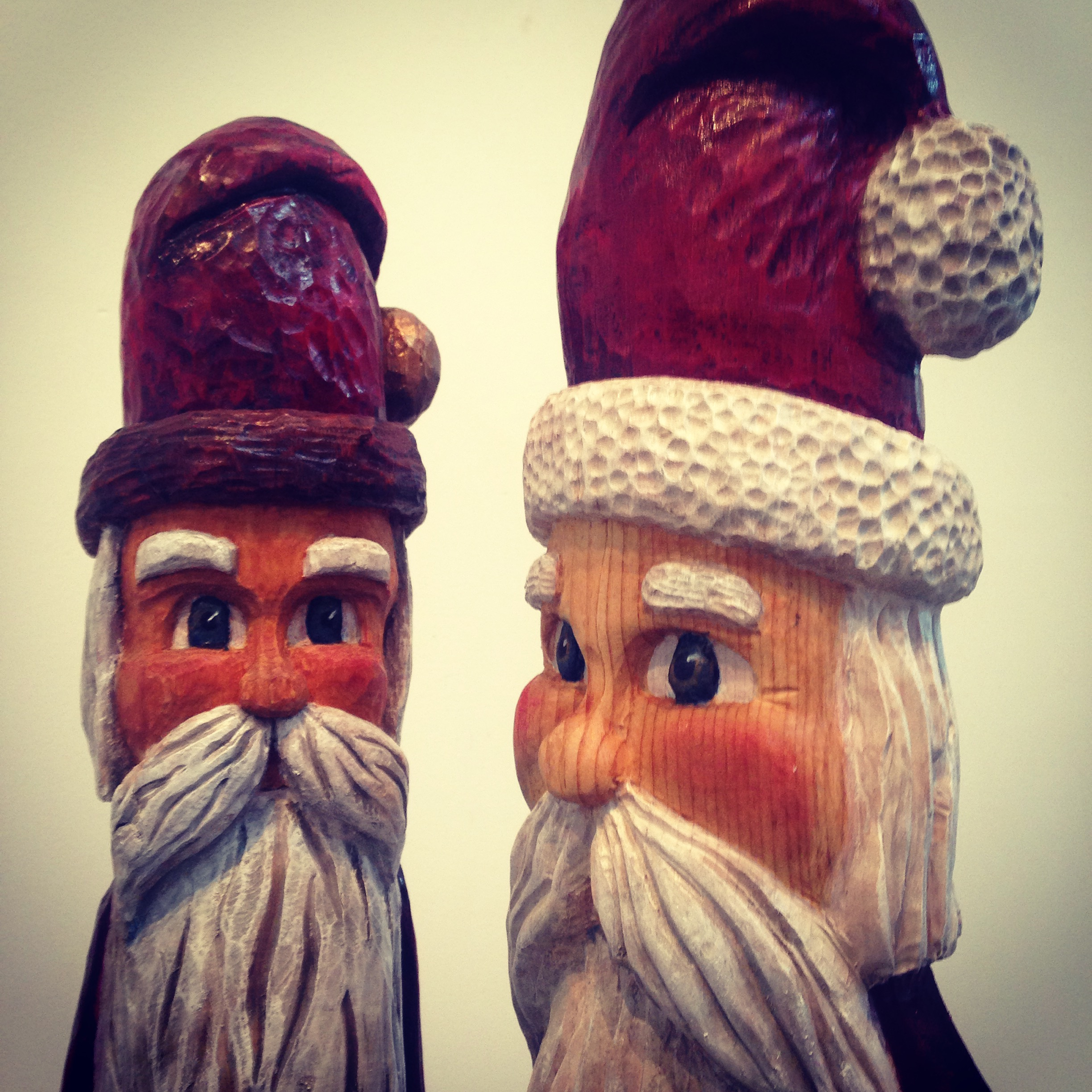 Carved Claus's for Christmas