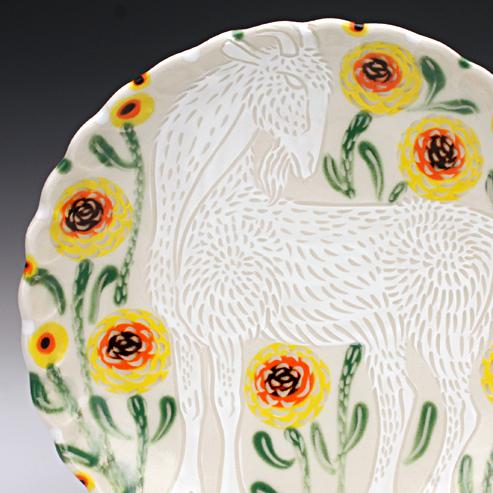 White Goat Desert Plate by Sue Tirrell