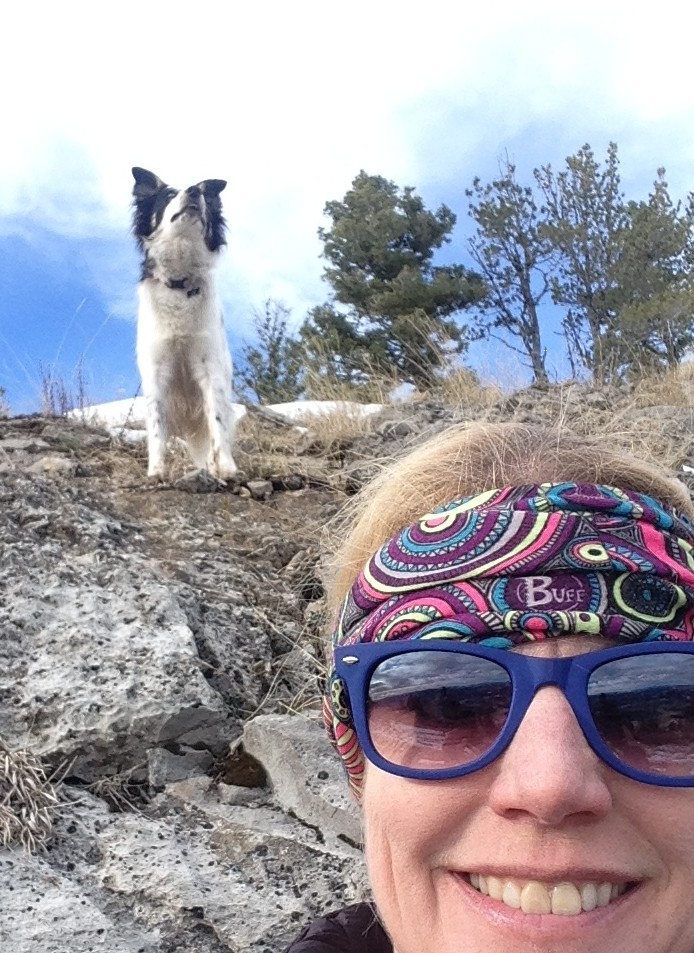 Selfie on the way to the summit.  Tala took the opportunity to chase bugs and play during our breaks (she NEVER slowed down).