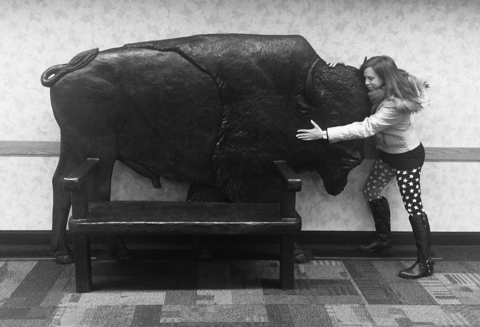 The bison gets a bit of love (photo taken by a traveler from LA).  Soon the sculpture will be permanently installed in the airport upstairs to greet travelers as the first thing they see upon arriving at our airport.