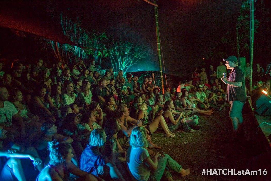 Yarrow Kraner, the mastermind behind HATCH on the outdoor jungle stage sharing his unique self and thoughtful vision