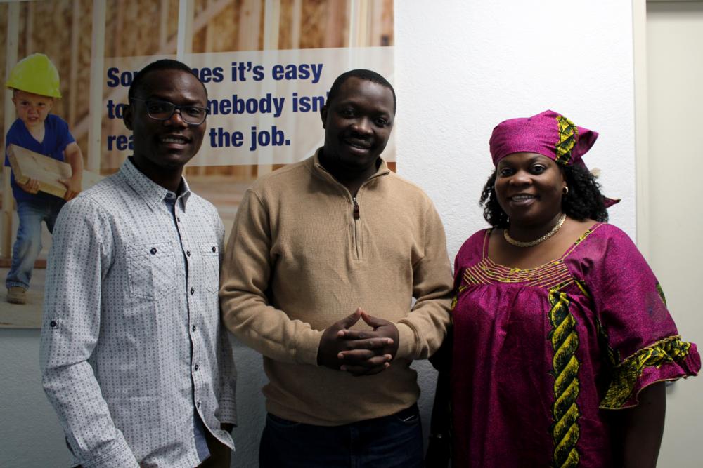 Providence Kamana (left), Floribert Mubalama (middle), and Bigi Ruhigita (right) are just three of the many dedicated staff and volunteers that make up CIN's team.