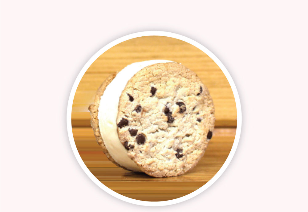 Ice Cream Sandwiches - Crescent Ridge Ice Cream packed between two chocolate chip cookies. Take a bite out of your favorite treats, in our frozen pacakges!
