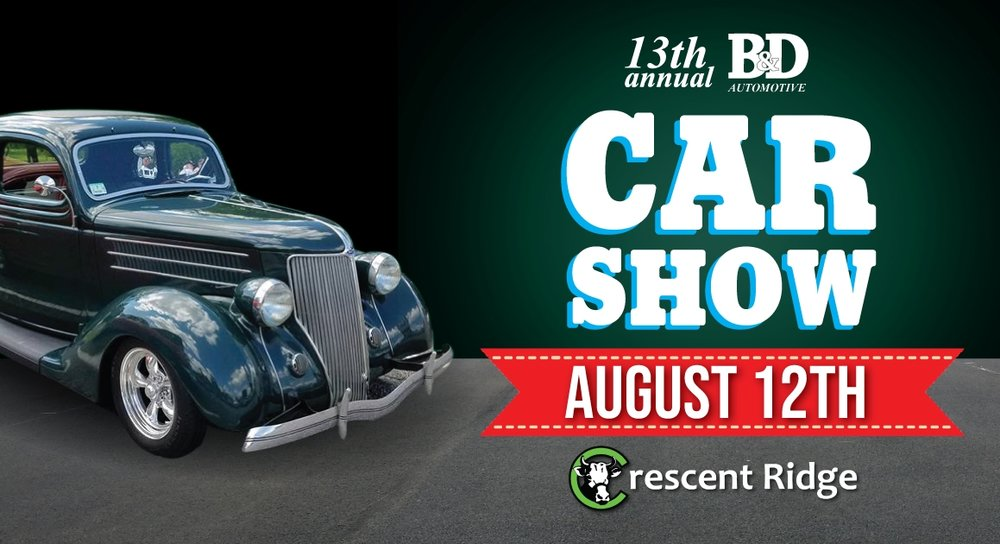 B&D Auto Car Show - August 12 11AM - 3PMHot Rods, Modded and Classic cars at Crescent Ridge, by B&D Auto. Come enjoy a cone and ask owners questions about their cars.