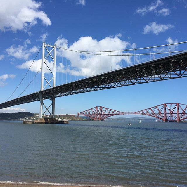 Two of our three bridges! #forthrailwaybridge #forthroadbridge #riverforth #edinburgh