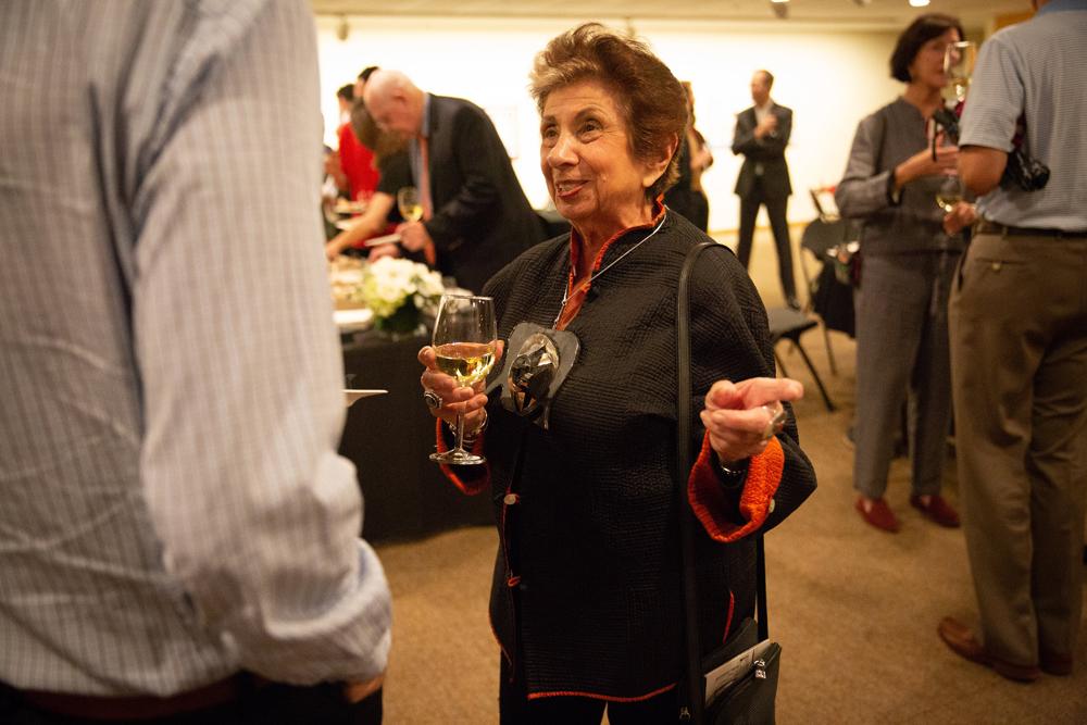 Joyce Pomeroy Schwartz wearing necklace by Louise Nevelson