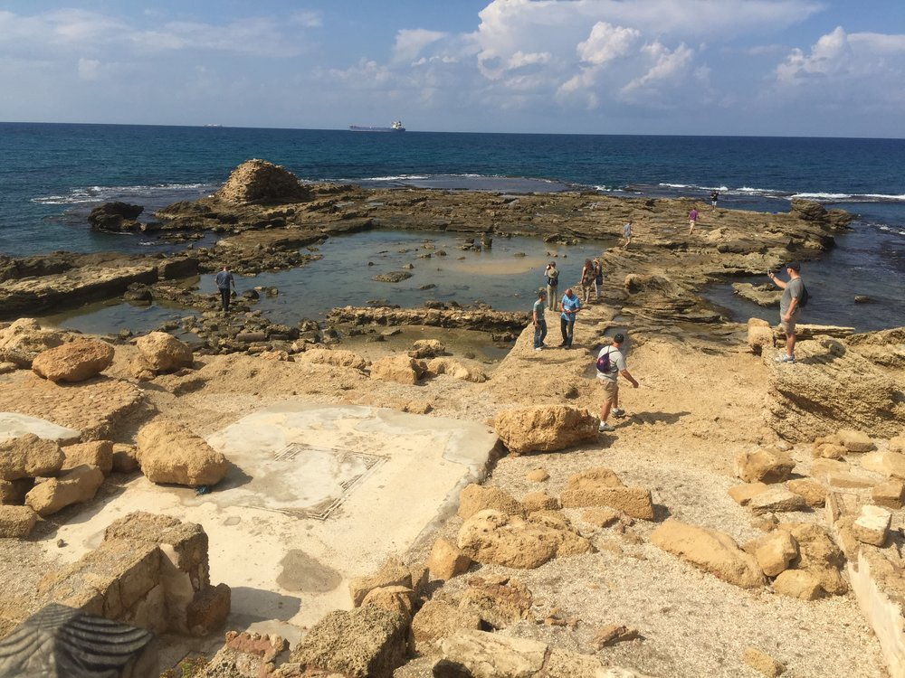 Remains of King Herod's summer castle on the edge of the Mediteranean Sea (note the ancient remains of a private swimming pool Herod had installed).