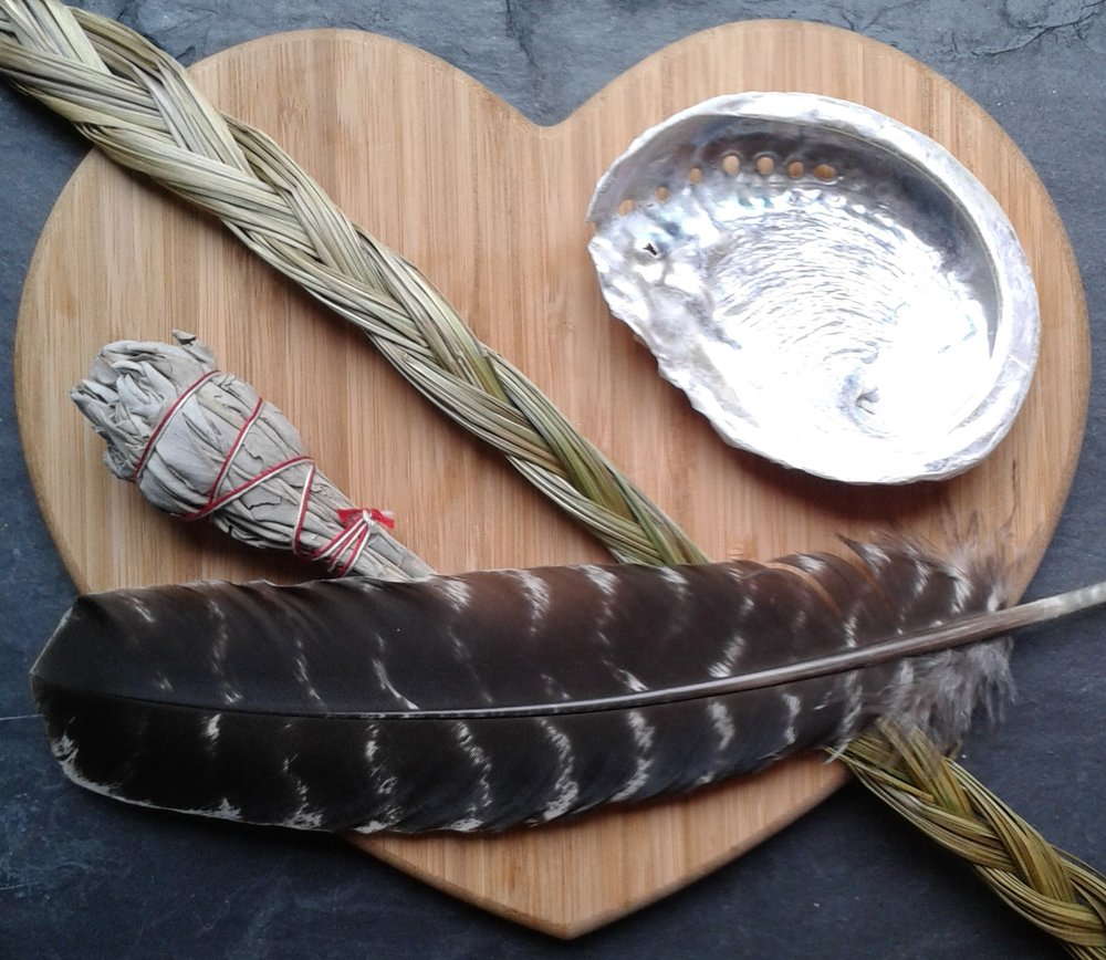 Blog 2-2019 Feb-shell bundle sweetgrass feather.jpg