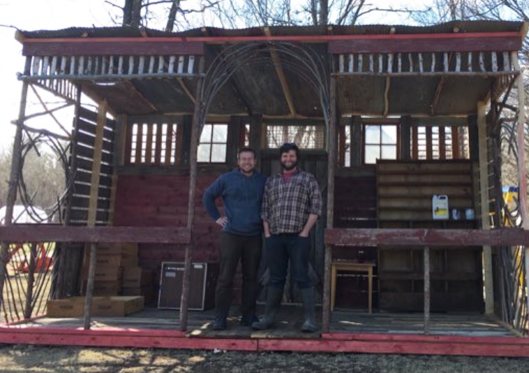 Erik and Jay in the almost-finished farm stand