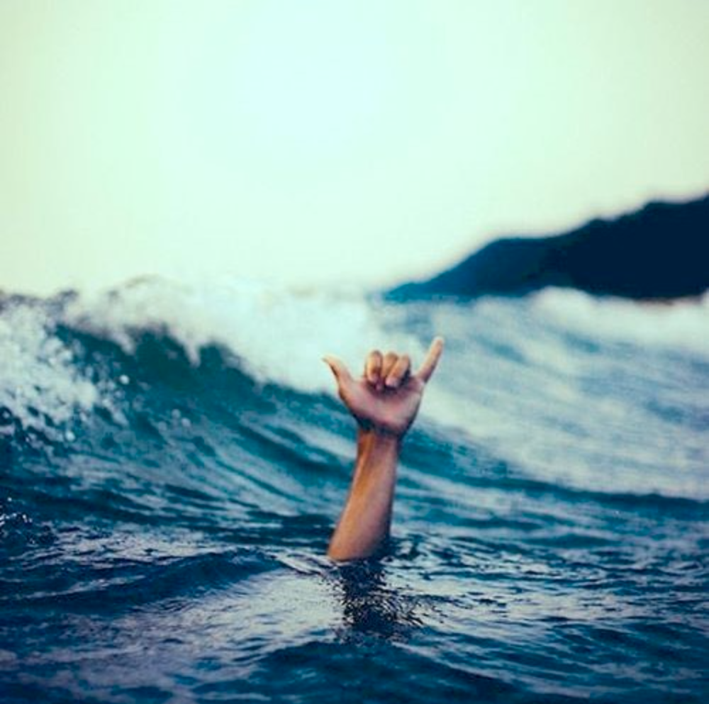 Hand Coming Up from Surf with Shaka Symbol