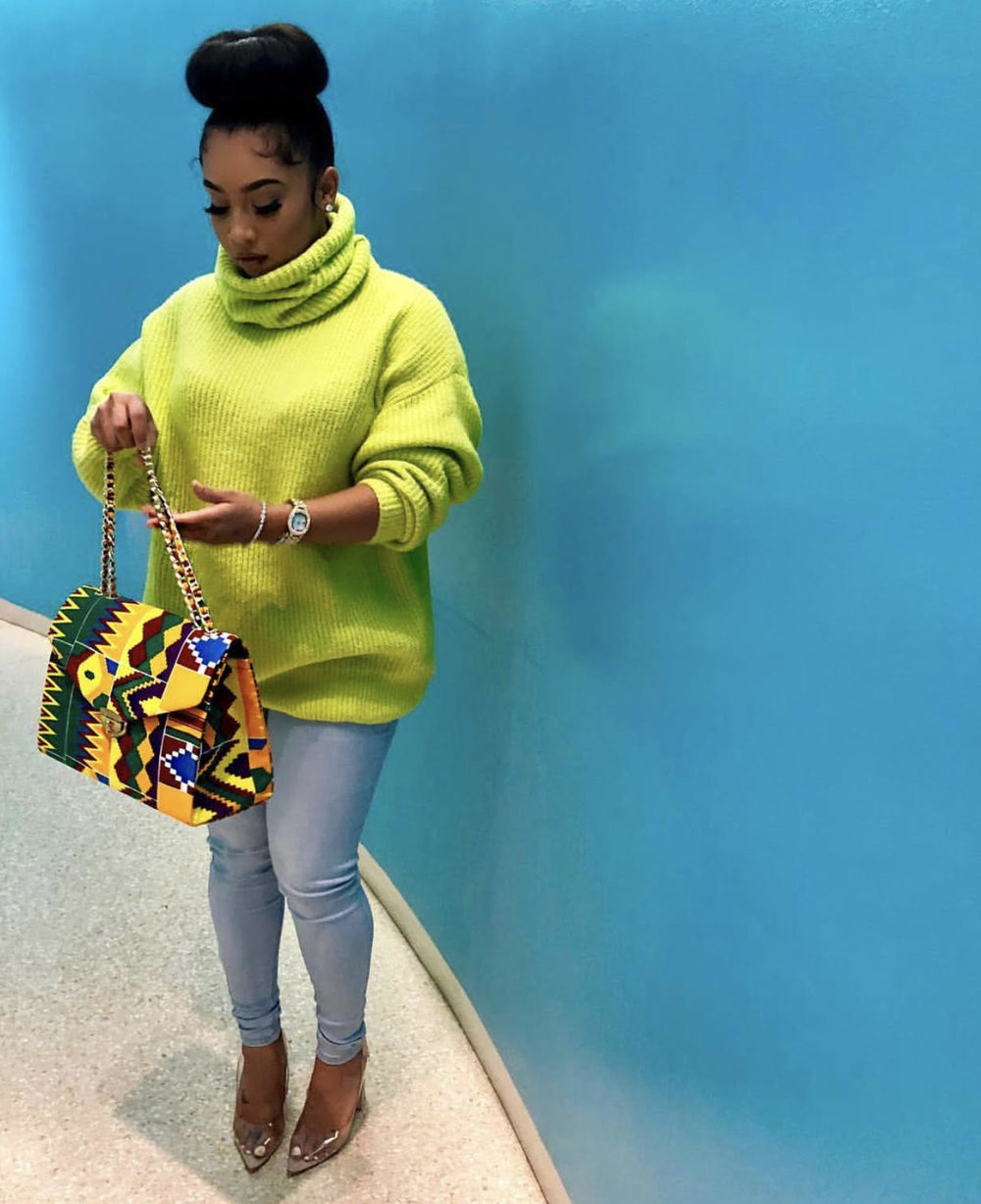 d1052e06131 anaya ivy style outfit neon green sweater african print purse