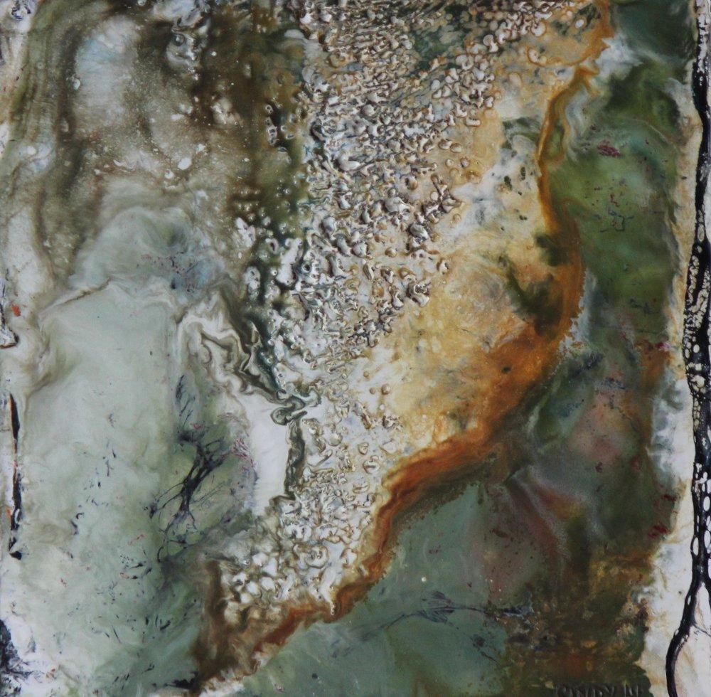 """Terra Incognita""   10x10"" framed  encaustic mixed media on cradle board  $200 CAD  2014"