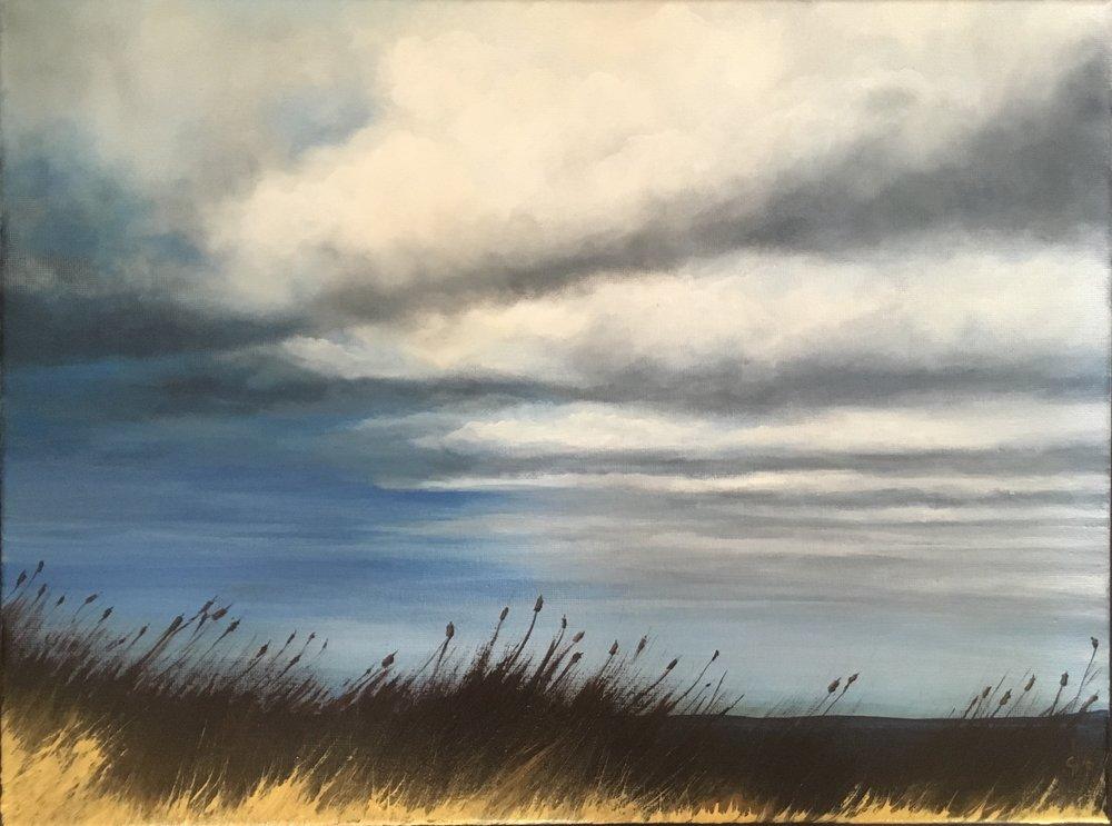 """""""November Rain""""   12x16"""" framed  acrylic on canvas  $300 CAD  2016"""