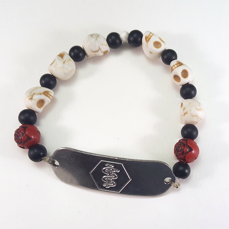 Medical Bracelet   Have a medical bracelet but want to maintain style? Try getting a custom commission like this one!  *Medical tag purchased + customized from 3rd party retailer