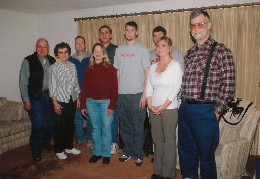 The Hoverstad family - my Uncle Kevin is third in from the left in the blue pullover.