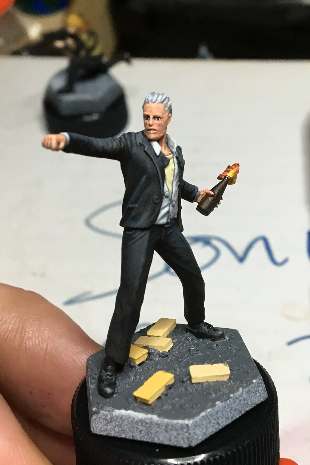 Suit attempt 1, grey highlighting. Very flat and boring.