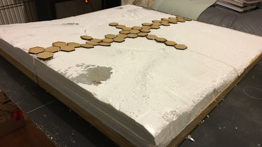 """""""Dry fitting"""" some mdf hexes onto the foam"""