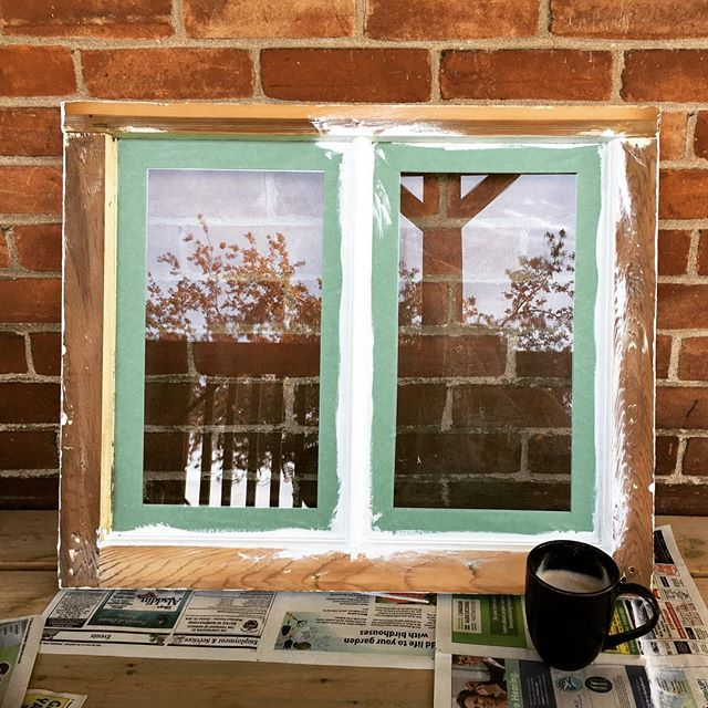 My office today! Repainting an old window to use in the chicken coop #repurposed #oldwindow #vintageadulting #painting #feelingcrafty #coffeeforthewin #doitforthechickens