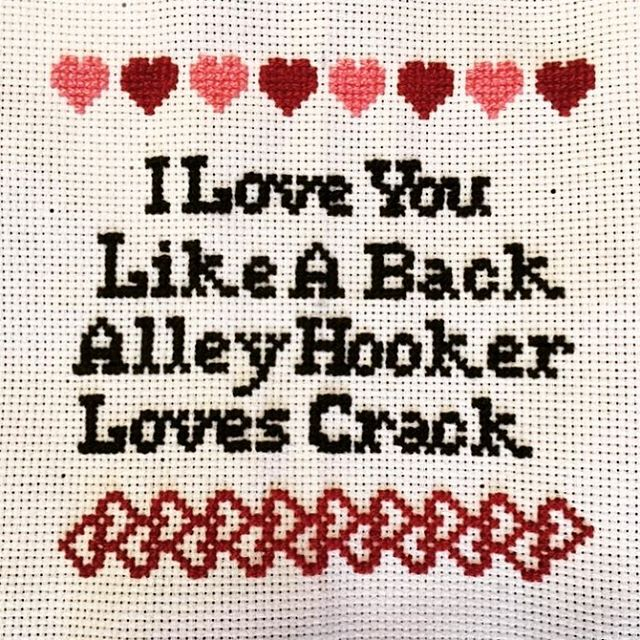 Not your grandma's cross stitching  #custompattern #subversivecrossstitch #crossstitch #ifeelthelove #vintageadulting #bestfriendsforever #keeptheartsalive #vintagecrafts