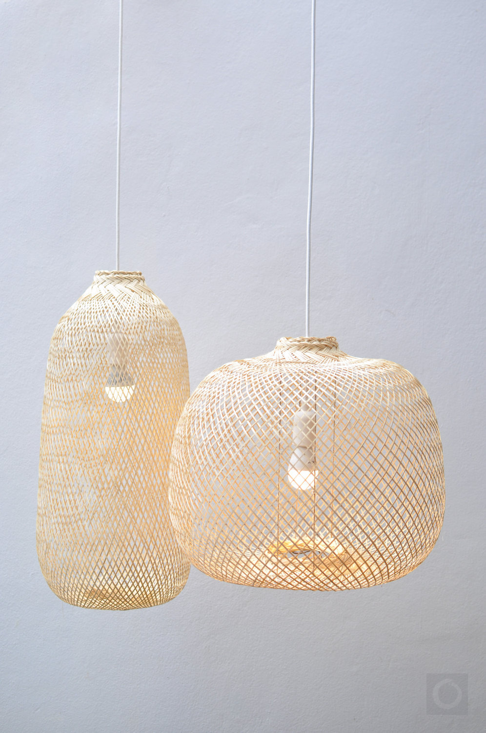 Oblong and over-sized Woven Bamboo Pendant Lights by Oriental Bazar on Etsy. - Prices start at $29. Made in Thailand.