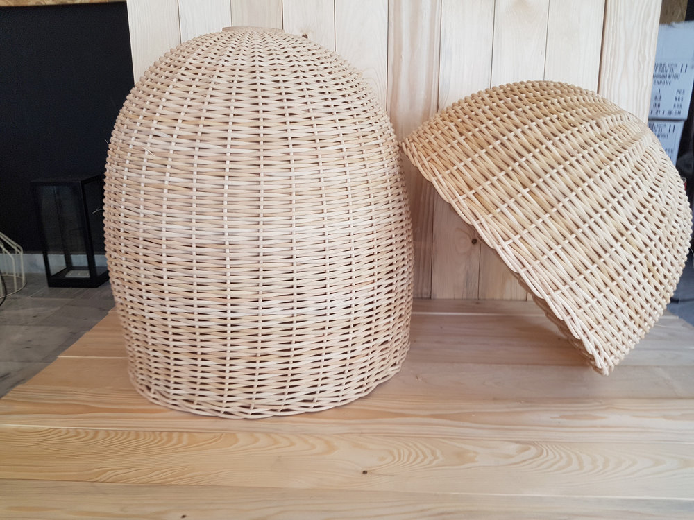 A beautifully rounded, Handmade Rattan Pendant Light by LAlbaLuce on Etsy.  - $96.00 and up. Made in Greece.